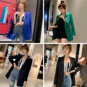 Women-039-s-Casual-Lapel-Blazer-Suit-Jacket-Long-Sleeve-Slim-Cardigan-Coat-Outwear