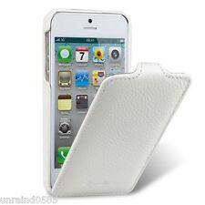 Apple iPhone 5, 5S, 5SE White Premium Leather Flip Case Melkco Clip