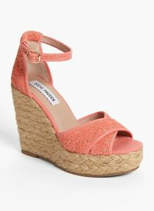 221f8bbd3d1 Details about Steve Madden Women's Peachy Pink Marrvil Platform Wedge  Sandal Pump Size 11M