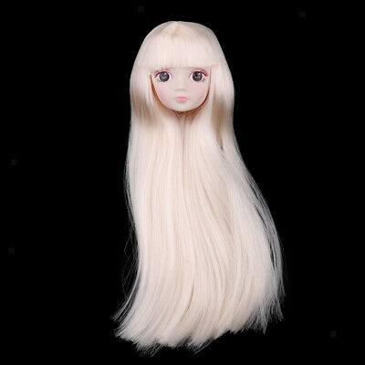 1//6 BJD Makeup Face Head Sculpt Golden Hair Doll Replacement Body Part DIY
