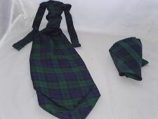 (A) Tartan Black Watch Mens Polyester Scrunchie Ruche Tie Cravat and Hankie Set