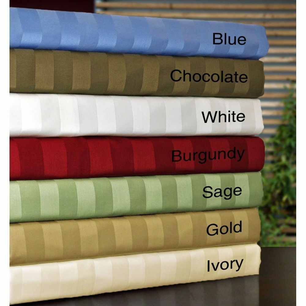 6 PCs Bedding Sheet Set 1000tc 100% Egyptian Cotton Striped colors Queen Size