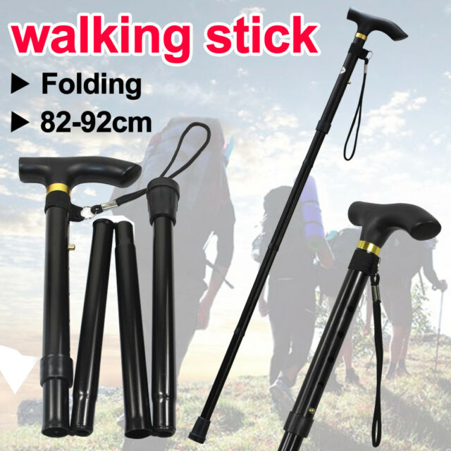 Adjustable Walking Stick Travel Retractable Hike Folding Cane Metal Pole Black