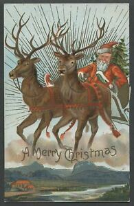 1908-Christmas-Postcard-SANTA-WITH-REINDEER-1908-RED-CROSS-STAMP-ON-BACK-SIDE
