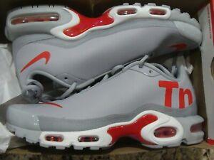Nike Air Max Plus Mens TN SE Big Logo Wolf Grey Red Size 13 Aq1088 001