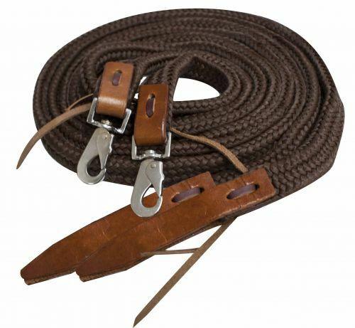 Showman 8/' Flat Braided Nylon Reins w// Leather Popper Ends