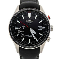 Seiko Sportura GPS Solar Quartz Steel 45mm Mens Leather Strap Watch SSF007