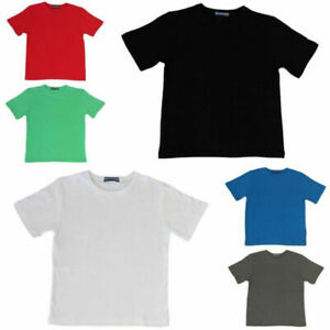 NEW-Kids-Childrens-Boys-Girls-Plain-T-Shirt-100-Cotton-4-16-White-Black-Colours