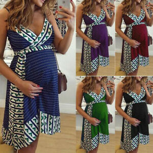 e182e7c0a4 Image is loading Women-Pregnancy-Nursing-Striped-Print-V-Neck-Sleeveless-
