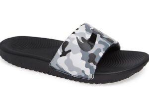 NEW Boys Nike Kawa Print Side Sandals Gray //Black