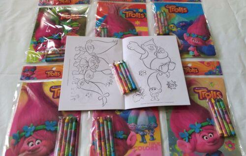 Dreamworks Trolls Disney Coloring Book Crayon Set Childs Party Bag Filler