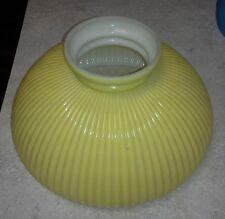 "Antique Vintage 10"" CASED YELLOW Ribbed Student Aladdin Oil Kerosene Lamp Shade"