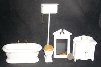 Mini White Old Fashioned Bath Set 4 1:12 T5305 Tub Toilet Sink Tub Bathroom