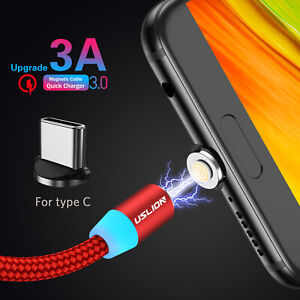 Magnetic-Micro-USB-Type-C-Cable-1M-3A-Fast-Charging-Sync-Data-Charge-LED-Adapter