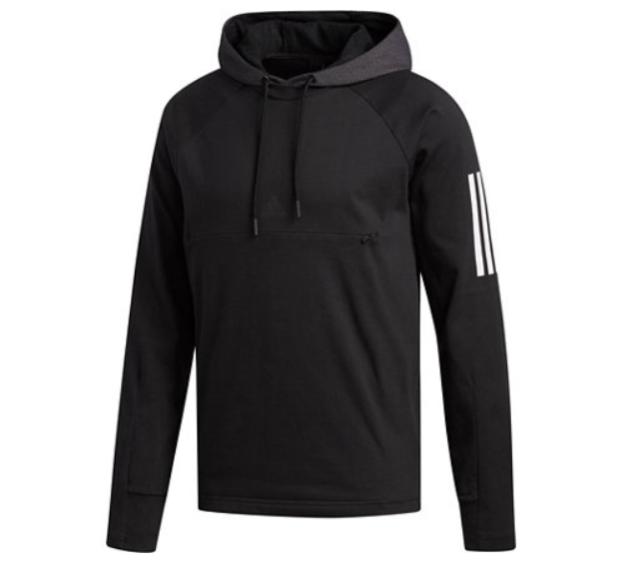 Medium M adidas Mens Sport Pullover Jersey Sweatshirt Hooded Black Athletic