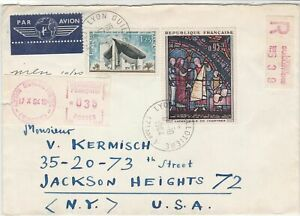 Republic France 1964 Airmail to USA Lyon Cancel Registerd Stamps Cover Ref 23434