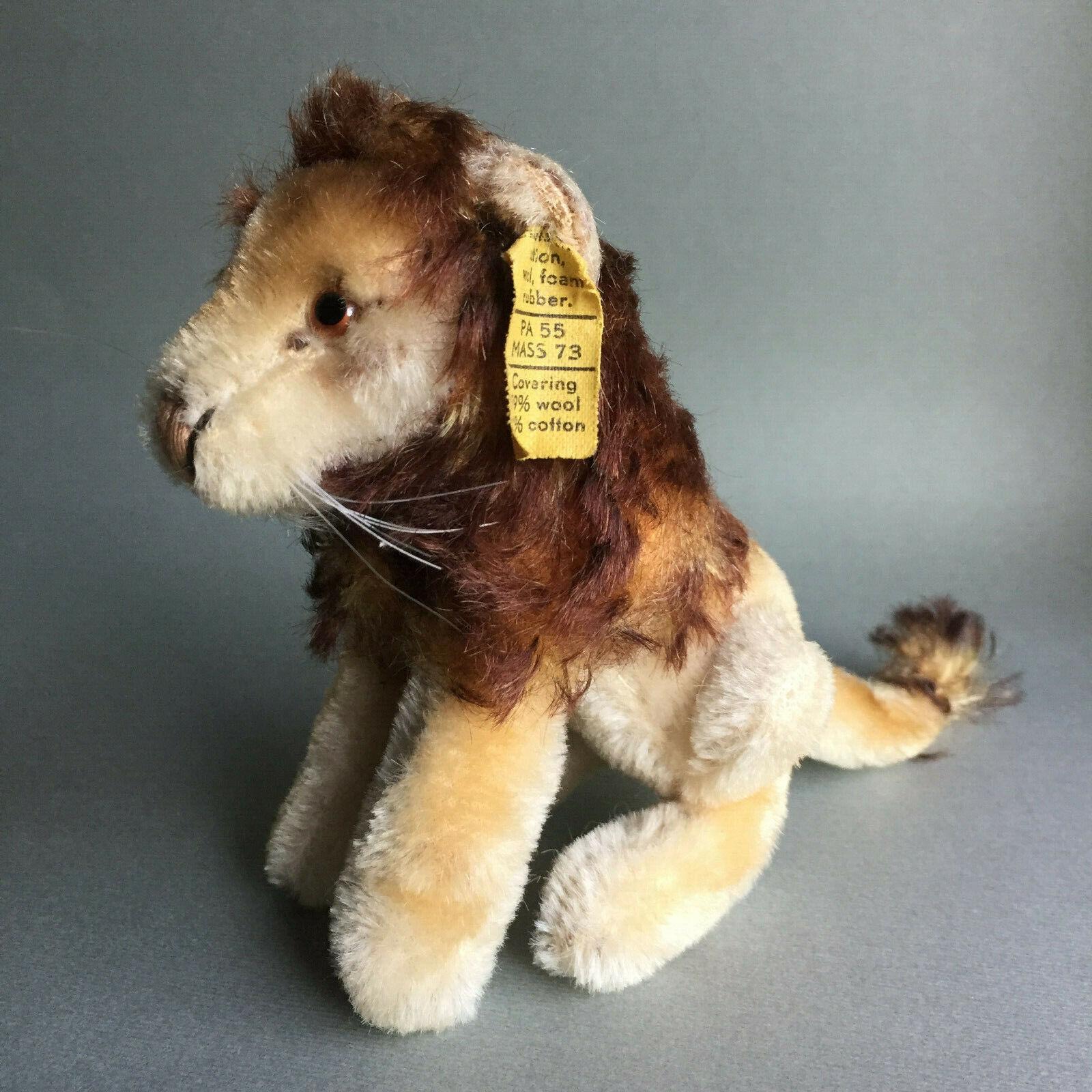Vintage Steiff Leo Lion 0820 12 Sitting Mohair Plush 12cm 5'' 1960s With ID Flag
