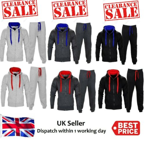 Mens Plain Printed jogging suit Tracksuit Hooded Bottoms Top Fleece clearance!!