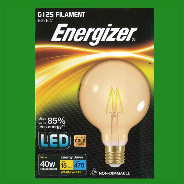 5W LED Antique Gold Filament G125 Globe Light Bulbs Screw ES E27 Decor Lamps