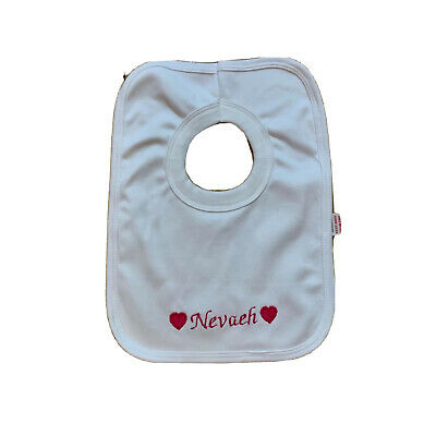 Personalised pink name embroidery pop over baby bib one size