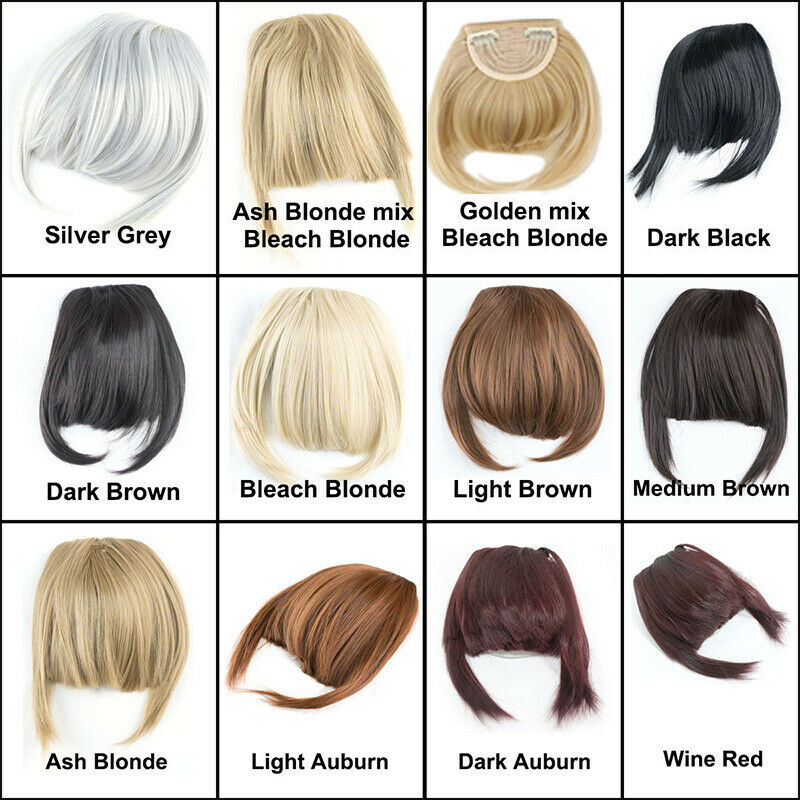 Thick Neat Bangs Real As Human Hair Extensions Clip In On Fringe Front Hairpiece Ebay