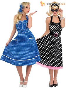 b2f11166158f Ladies Rock N Roll 1950s Fancy Dress Costume Day Tea Polka Dot 50s ...