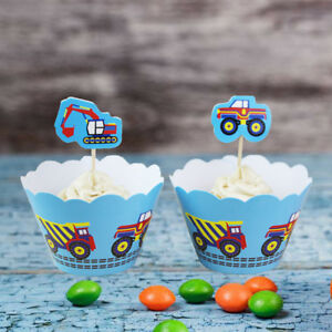 24X-cartoon-cars-cupcake-wrappers-amp-toppers-kids-birthday-party-decor-suppliesJR