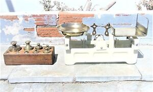 ANTIQUE BALANCE SCALE IRON & BRASS WITH WEIGHTS WORKING CONDITION FROM GREECE