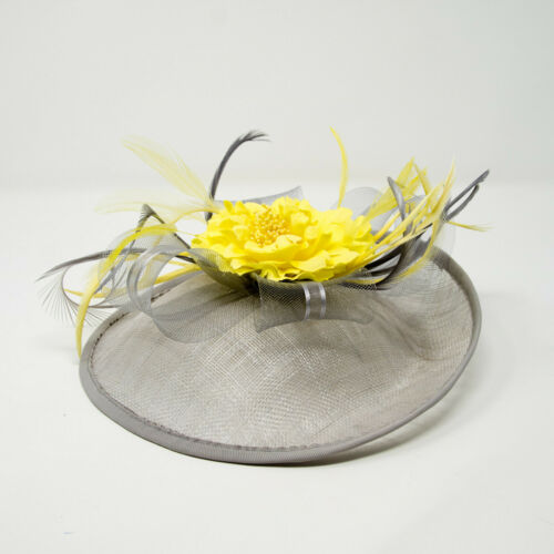 Silver grey /& lemon yellow hatinator style fascinator on clip comb Alice band