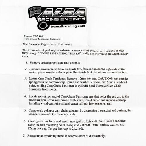 Suzuki LTZ 400   Cam Chain Tensioner Fix   Eliminates Chatter   Alba Racing