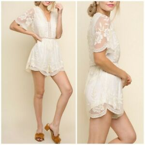 8c8dfbaabf7 Image is loading Umgee-Ivory-Sheer-Crochet-Lace-Floral-Scalloped-Romper-