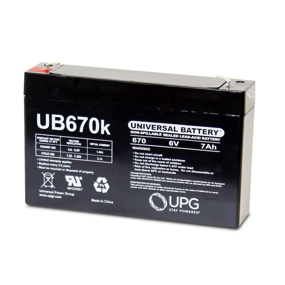 NEW UPG UB670 6V 7AH SLA Replacement Battery for Alexander MS4AAPW