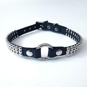 Funk-Plus-Black-Leather-O-Ring-Bondage-Collar-Choker-Gothic-Punk-70s-80s-Metal