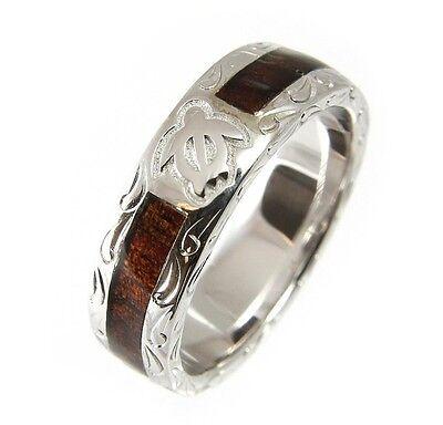 GENUINE HAWAIIAN KOA WOOD ETERNITY WEDDING BAND RING HONU TURTLE 925 SILVER 6MM