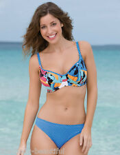 38D-FREYA-CIRCUS-BIKINI BRA+MEDIUM-UK-12-CLASSIC-PANT-SET-PATCHWORK-BLUE-MULTI