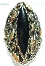 STERLING SILVER 12K BLACK HILLS GOLD LEAF ONYX ORNATE LARGE SHIELD RING SZ 10.5