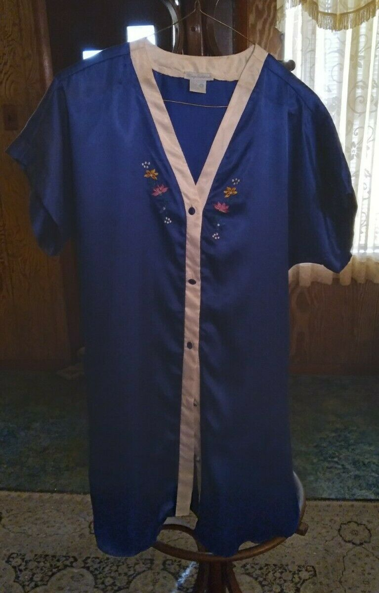 Vintage Sleep Solutions Blue Sleep Shirt Nightgown Lingerie Slippery Satin Sz S