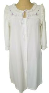 Vtg Miss Elaine Satin Housecoat Robe White Lace Trim Embroidered Small