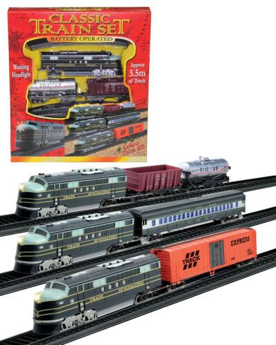 Classique Train Set Batterie pistes 3.5 m Travail De Lumière Enfants Cadeau D/'Anniversaire