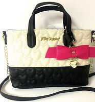 Betsey Johnson - Mini Cream With Bow Charm Tote Handbag, Retail $78