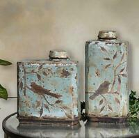St/2 French Tuscan Songbird Distressed Containers Jars Urns Vases Gorgeous