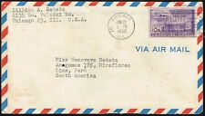 3061 US TO PERU AIR MAIL COVER 1952 UPU STAMP CHICAGO, IL - LIMA