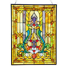 River of Goods Multicolor Stained Glass 24.75-inch High Fleur de Lis Window Pane