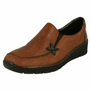 Details about LADIES RIEKER LEATHER SLIP ON LOAFER WEDGE HEEL SOFT SHOES CASUAL 53783 SIZE