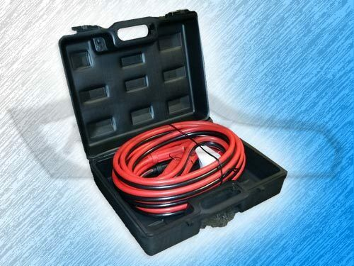PACKAGE OF 2 HEAVY DUTY 1 GAUGE 25 FOOT BOOSTER//JUMPER BATTERY CABLES W// CASE