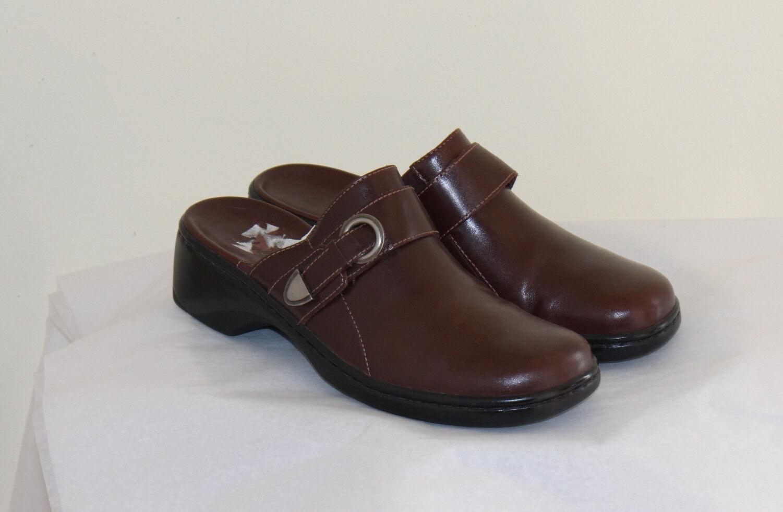 Clarks-Sz 8 M élégant marron Riche Leather Clogs Slip-on Mules chaussures Confort