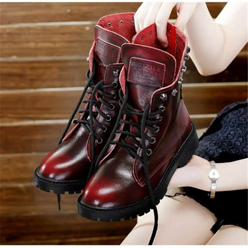 Womens Leather Motorcycle Ankle Boots Fur Lining Vintage Rivet Warm shoes