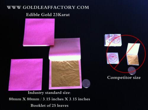 25 folha de ouro comestível E175 alimentos pastelaria chocolate 23 quilates