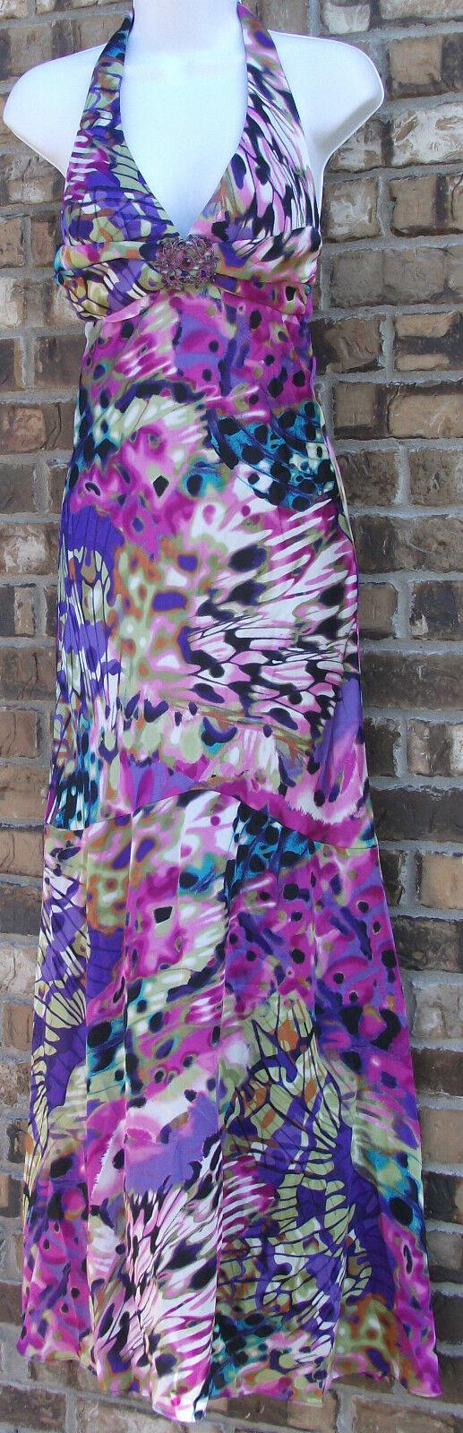 NEW with Defect JUMP APPAREL multi purple halter long dress, junior 3 4 & 7 8