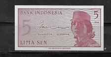 INDONESIA #91a 1964 UNCIRCULATED -MINT OLD 5 SEN BANKNOTE BILL NOTE PAPER MONEY